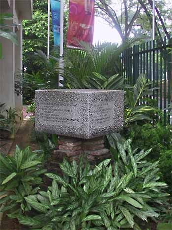 The Foundation Stone of the Monument in Tribute to the Early Founders of Singapore